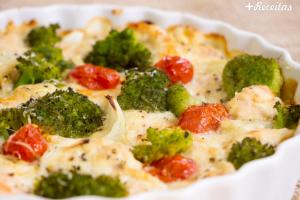 Brócolis de forno com frango